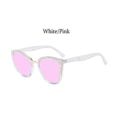 Taiyangcheng Katzenspiegel Sonnenbrillen Frauen Eye Cat Metallrahmen Mädchen Sonnenbrillen Damen Big Frame Farbverlauf,Weißes Rosa