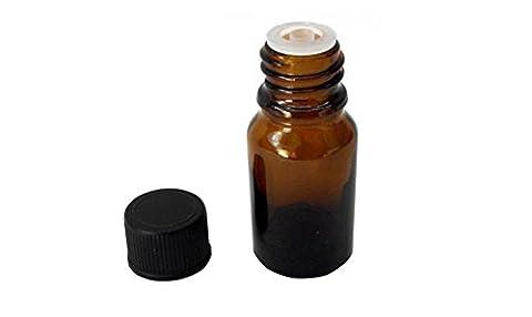 Lot de 6bouteilles d'huile essentielle de 10ml en verre avec orifice Réducteur et Noir Vis Cap-refillable Maquillage Cosmétique Crème Lotion liquide de toilette Boîtes de rangement Pot Pots