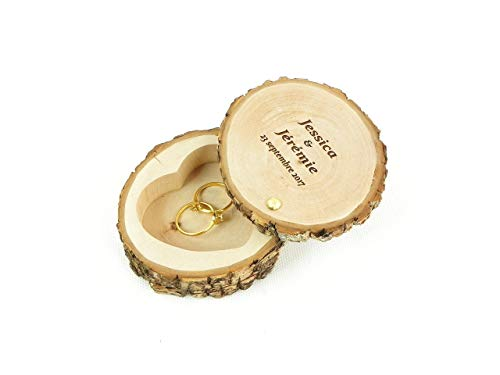 Porte alliances rustique en bois, boîte à alliances personnalisée fait main dans une tranche de bois pour...