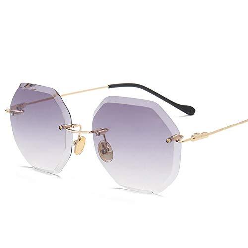 ZJHZJH Retro Luxus randlose Sonnenbrille Frauen Designer übergroßen Sonnenbrille weibliche Diamant schneiden Brillen für Dame