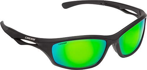 Cressi Unisex- Erwachsene Sniper Sunglasses Sport Sonnenbrillen, Schwarz/Linsen Verspiegelte Grüne, One Size