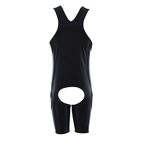 Mangotree Herren Kunstleder Gothic Fetisch Catsuit Mankini Männer Bodysuit Badehose Kostüm (Mankini Kostüm)
