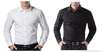 ZAKOD Combo of Plain Men's Cotton Shirts for Formal Wear,Slim Fit Shirts,Normal Wear Shirts,Available Sizes M=38,L=40,XL=42(Pack of 2)