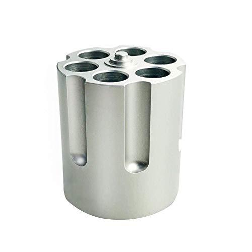 Pistole Zylinder Design Stifthalter, Revolver Stifthalter mit 6 Kugel, Schwere Rutschfeste Aluminium Kugelschreiber Stifthalter für Schulbüro Kreative Dekoration