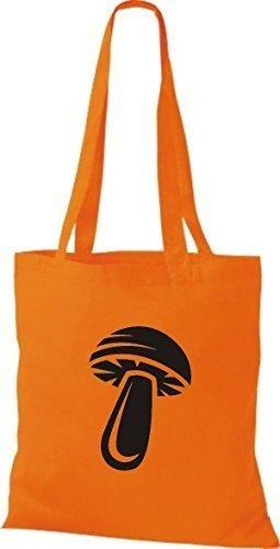T-shirt Di Stoffa Di Cotone Tinta Unita Il Tuo Frutto Preferito Di Verdure E Funghi Color Kelly Orange
