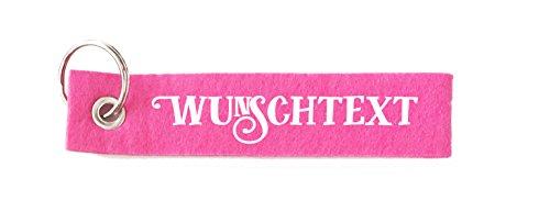 WUNSCHTEXT Schlüsselanhänger personalisiert mit Textwunsch Filz in deiner Wunschfarbe - mit Botschaft / Gravur / Druck / Geschenkidee für Weihnachten, Geburtstag, Fungeschenk,...