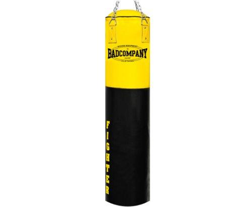 Bad Company Boxsack inkl. Heavy Duty Vierpunkt-Stahlkette I Vinyl Punching Bag, gefüllt I 180 x 35 cm - Schwarz/Gelb