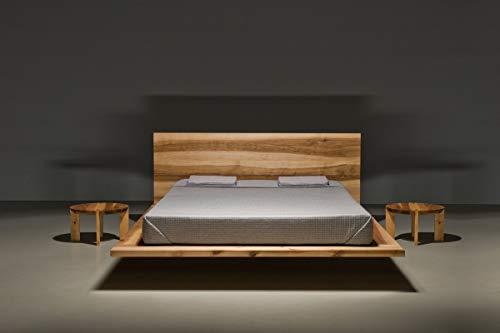 MAZZIVO Mood Hochwertiges Holz Bett schlicht & zeitlos filigran modern edel & elegant - italienisches Design 120 140 160 180 200 Überlänge Eiche Erle Buche Esche Kirschbaum (Erle, 120 x 200 cm) -
