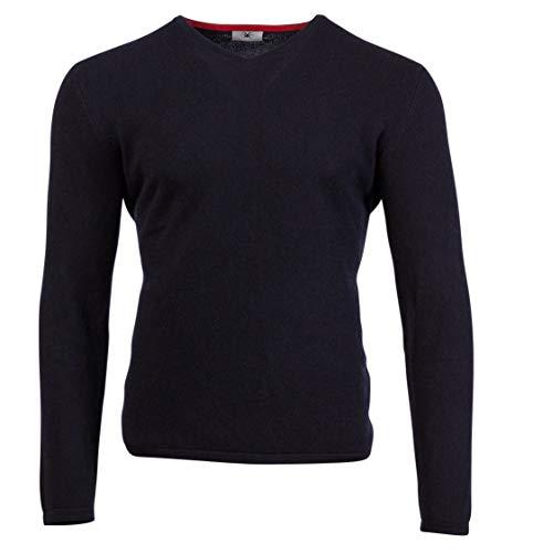 Direct Cashmere Blauer Herren Pullover mit V-Ausschnitt, Kaschmir-Pullover, Größe 54 - XL -