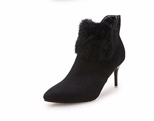 KAFEI Das Mädchen bootie Point ZIP high-heel mit feinem Satin, schwarz, 35 (Schwarzer Bootie Heels)