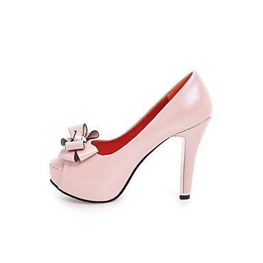 pwne Donna Tacchi Scarpe Club Similpelle Primavera Autunno Casual Bowknot Stiletto Heel Arrossendo Rosa Bianco Nero 4A-4 3/4In US5 / EU35 / UK3 / CN34