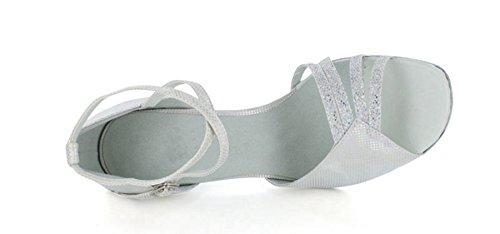 Minitoo da donna tacco alto peep toe Croce Strap Satin Latin Dance scarpe sexy alla moda Strappy Scarpe Silver