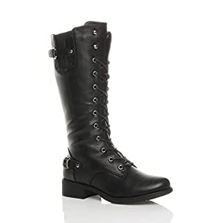 Ajvani Womens Ladies Low Heel lace up Zip Biker Army Military Calf Boots Size 6 39