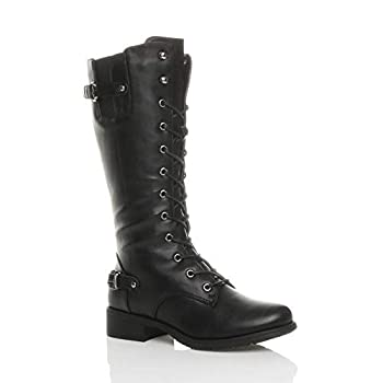 7585dad80a56 Ajvani Womens Ladies Low Heel lace up Zip Biker Army Military Calf Boots  Size 7 40