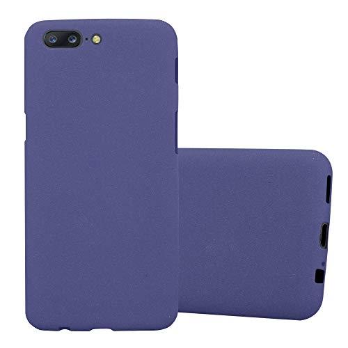 Cadorabo Funda para OnePlus 5 en Frost Azul Oscuro - Cubierta Proteccíon de Silicona TPU Delgada e Flexible con Antichoque - Gel Case Cover Carcasa Ligera