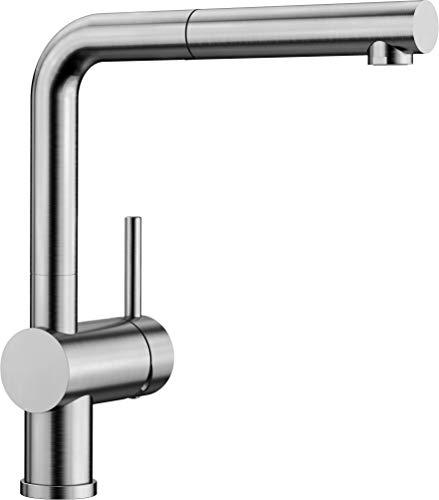 Blanco Linus-S Küchenarmatur - Einhebelmischer mit ausziehbarer Schlauchbrause, metallische Oberfläche, Edelstahl gebürstet, Hochdruck, 1 Stück, 517184 (Küchenarmaturen Edelstahl)