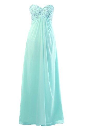 YiYaDawn Langes Abendkleid Ballkleid Brautjungfernkleid für Damen Helltürkis