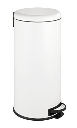 Wenko 22709100 Poubelle à pédale en Acier Inox Leman Easy Close - 30 L - Blanc