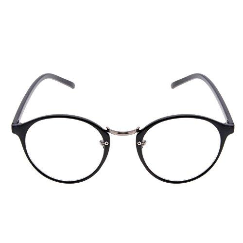 Minetom Unisex Lesebrille mit modischen Retro Runde Objektiv optische Gläser Brille Wayfarer Lesehilfe ( Schwarz )