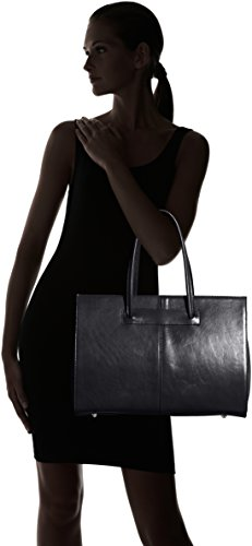 Borsa cartella donna a mano, porta documenti, Vera Pelle 100% Made in Italy Nero
