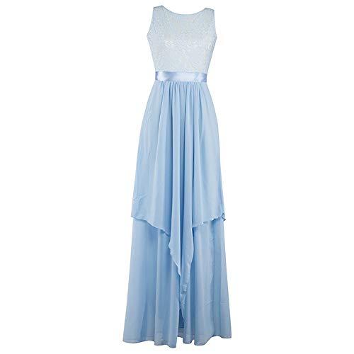 ZLDDE Damen Hochzeit Abendkleider Abendkleid Cocktailkleid PartykleidHellblau Ärmelloses Spitzen-Chiffon Rückenfrei -