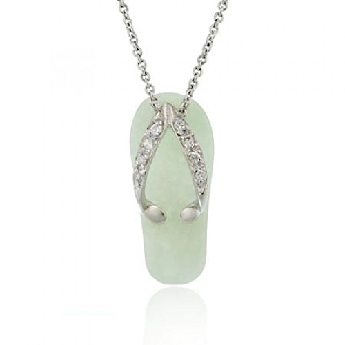 Sommerlicher Flip Flop Ketten-Anhänger mit Zirkonia Diamanten und grüner Jade, Sterling Silber