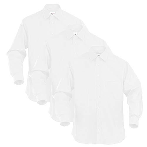 3 Stück SETPREIS Herren Langarm Hemd Hochzeit Business Anzug Freizeit Hemd Arbeitshemd Langarm Hemd Gastro (M, Weiß)