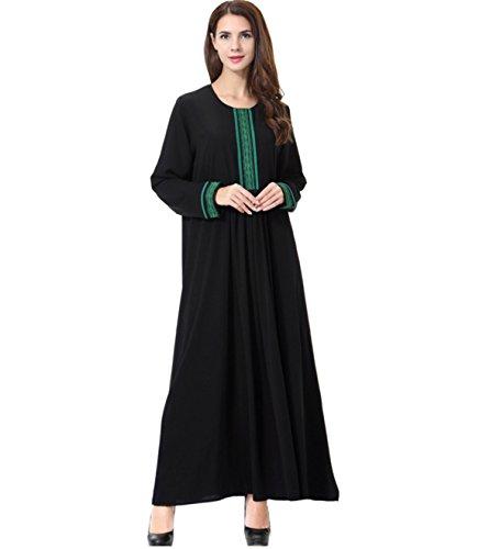 Dreamskull Muslim Abaya Dubai Kleid Muslimisch Islamisch Arabisch Indien Türkisch Casual Abendkleid Kaftan Kleidung Maxikleid A Linie Dress Schwarz übergröße große Größen Damen Frauen (L, TH903Grün) (Kleidung Aus Indien)