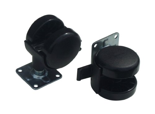 2 x Black 50mm twin wheel furniture castors with brake and top fixing plate Test