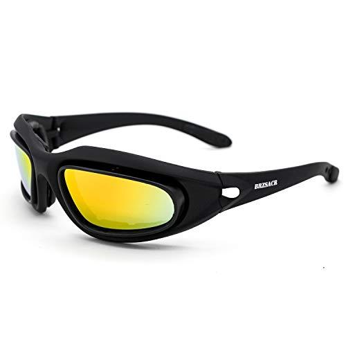BRASACR Polarisierte Sport-Sonnenbrille mit austauschbaren Lenes für Männer Frauen Radfahren Laufen Fahren Angeln Golf Baseball Brillen (4-Farben-Wechselobjektiv) (Schwarz1)