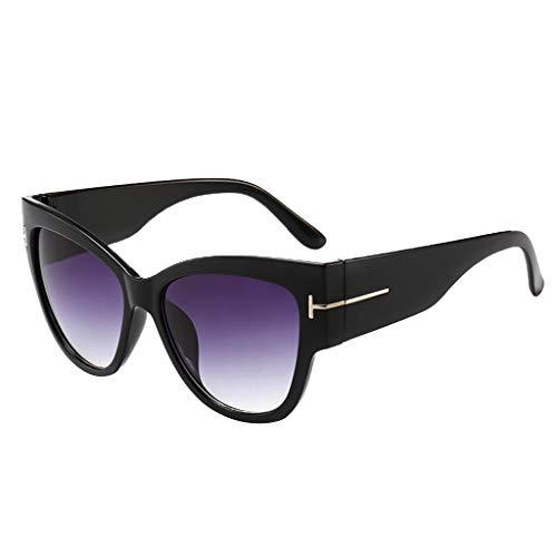 Honestyi Womens Man Cat Eye Rapper Sonnenbrille Vintage Retro Eyewear Unisex Trend Sonnenbrille T-Style Retro Big Box Sonnenbrille Mode Damen Sonnenbrille Sand schwarz
