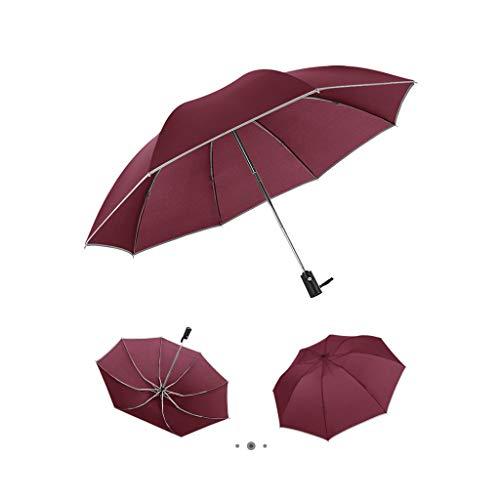 Italily ombrello portatile automatico antivento ombrello compatto resistente ombrello da viaggio per uomo e donna ombrello piegatura inversa commerciale ombrello con strisce riflettenti (rosso)