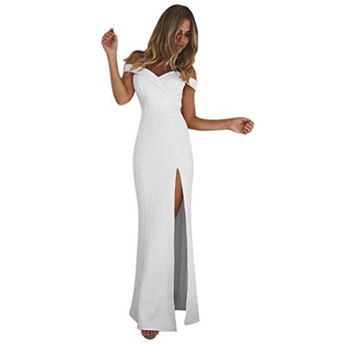 Robe Longue Soiree,OverDose Sexy Femme Robe Moulante Encolure Bardot Cocktail Evening Maxi Dress (36, Blanc)