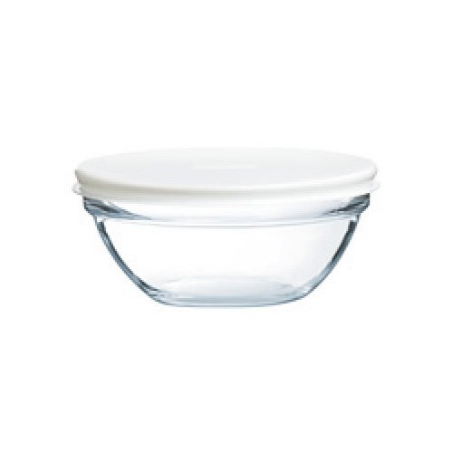 Arc International 4.5 inch Tempered Glass Stackable Bowl With White Lid by Duralex