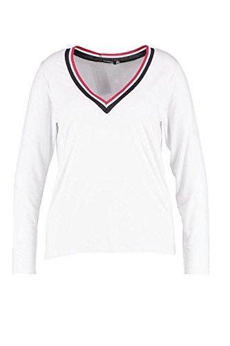 blanc Femmes Plus Lena T-Shirt col en V orné côtelé à manches longues Blanc