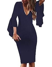 beautyjourney Vestido de Trabajo Ajustado con Cuello en V para Mujer Vestido de Oficina de Trabajo de Coctel Fiesta de Manga Larga de Color sólido de Manga Larga Tamaño Grande S-5XL