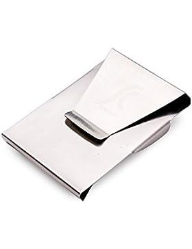 Teemzone Cartera Delgada hombre Pinzas Plateadas para Billetes Metal Clip de Dinero