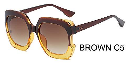 LKVNHP Sterne Kunststoff Festival Celebrity Square Übergroße Damen Sonnenbrille Damen Oculos De Sol FemininoUV-SchutzWTYJ067 Brown