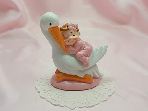 Deko-Figur Tortenfigur Storch mit Baby Mädchen Farbe rosa