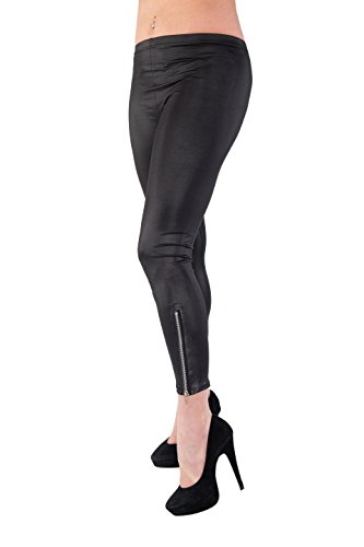 Wetlook Leggings Damen Kunst-Leder Hose Frauen Stretch mit seitlichem Reißverschluß schwarz (Stiefel Reißverschluss, Fashion Seitlicher Stretch)