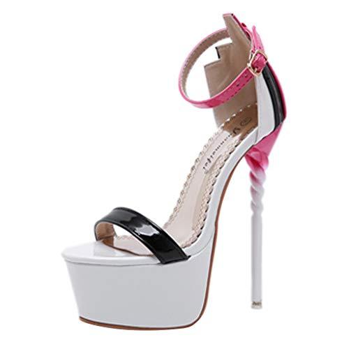 Frauen Sexy Knöchelriemen Schnalle Open Toe Plattform Stiletto Sandalen Single Band High Heel Party Abendkleid Schuhe Penny-plattform Sandal