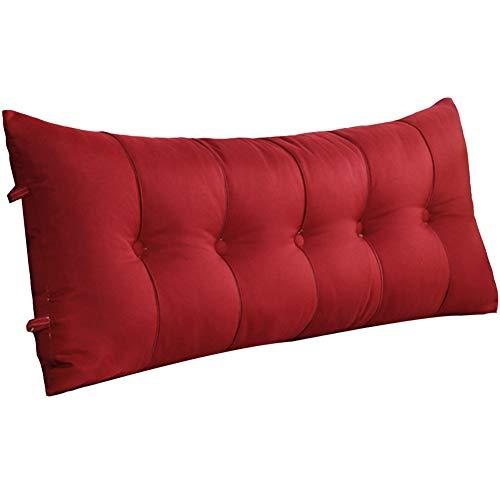 GUOWEI große Rückenlehne Kissen Bett Kissen Gepolstertes Kopfteil Keil Dreieck Rückenlehne Lesung Unterstützung, 7 Farben, 7 Größen Nachttisch (Farbe : Red, größe : 120x20x60cm)