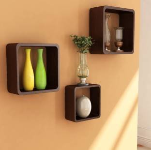 Onlineshoppee Fancy 3 Pcs Brown Cube Wooden Wall Shelf