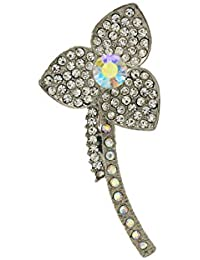 Anuradha Art Silver Finish Designer Sparkling Stone Stylish Traditional Brooch/Sari Pin For Women/Men