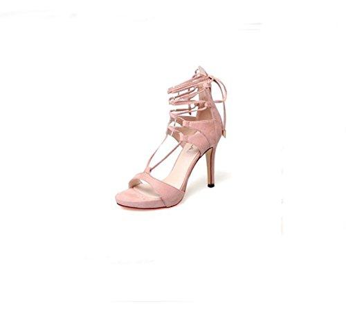 Hyun Times Summer Sexy Pink Fine avec Sandales à Bretelles Croisées Chaussures à Talons Hauts Exposés