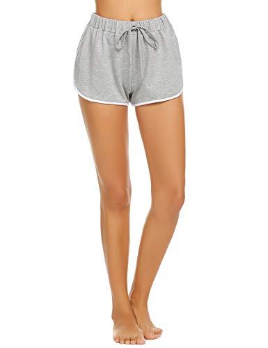 Damen Kurze Hose Shorts Schlafanzughose Schlafhose Yoga Sporthose Running Gym Beiläufige Elastische Shorts, Grau, Gr. S(34-36)