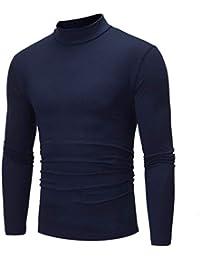 77df33cb5c4 TEBAISE Men s Autumn Winter Pure Color Turtleneck Long Sleeve T-Shirt Top  Blouse Comfortable