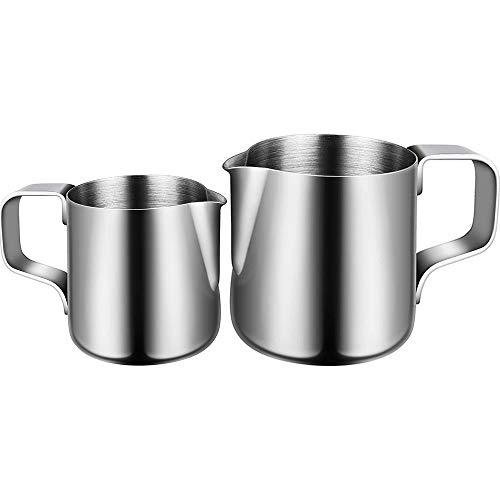 Milchkännchen, Milk Pitcher 150ml/350ml Milchkanne Aus Edelstahl, Milch Aufschäumkrug Edelstahl Milch Aufschäumen Tasse Kaffee Milchaufschäumer und Latte für Cappuccino und Latté (Silber) -
