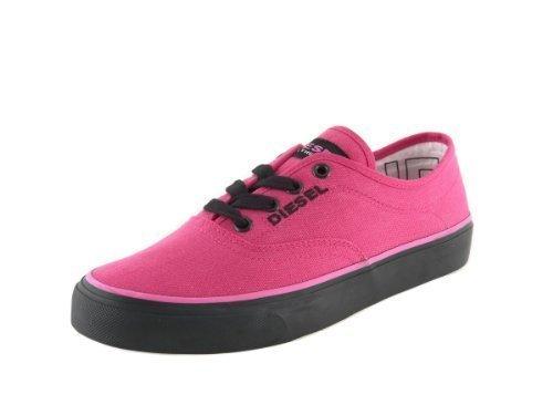 Diesel - scarpe unisex (kpm-282-c) - sneakers basse in tela fuxia/nero fluo, moda fashion (40)