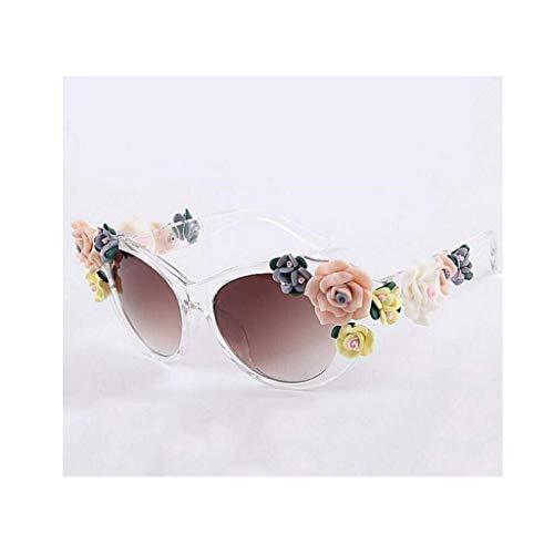 JFFFFWI Lady Vintage Baroque Floral Sonnenbrille - Sommerbrille - Stereo Rose